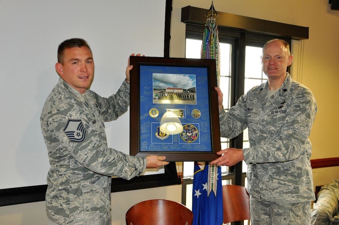 Master Sgt. Randy Alvis departed the 340th Flying Training Group to join Air Reserve Personnel Center's Joint Base San Antonio-Randolph, Texas operating location. Alvis will be the noncommissioned officer in charge of personnel system management and installation personnel readiness. In addition to selection for the position, Alvis was selected for promotion to senior master sergeant. (U.S. Air Force photo by Tech. Brianne Blackstock)