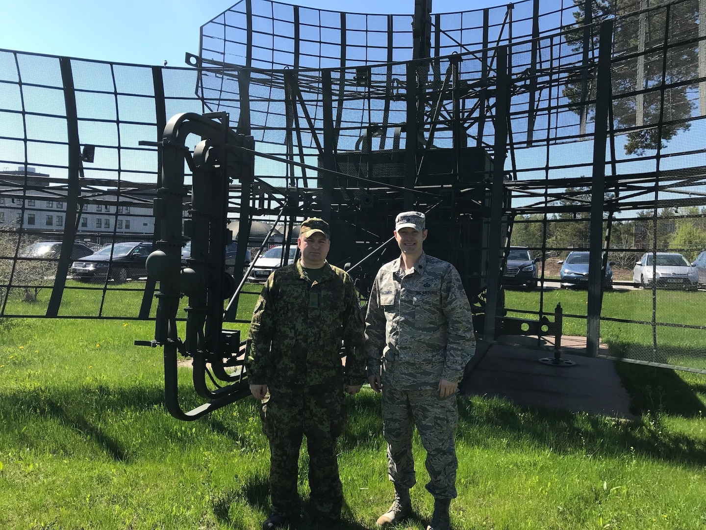 Lt. Col. Cam Macomber, intelligence officer, Joint Force Headquarters, Rhode Island Air National Guard stands with Maj Klaus-Jurgen Kaivo, intelligence officer, Estonian Air Force during HEDGEHOG 2018. Photo courtesy of Lt. Col. Cam Macomber.
