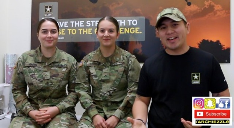 Staff Sgt. Archie Masibay discusses Army combat medic training with two recent AIT graduates