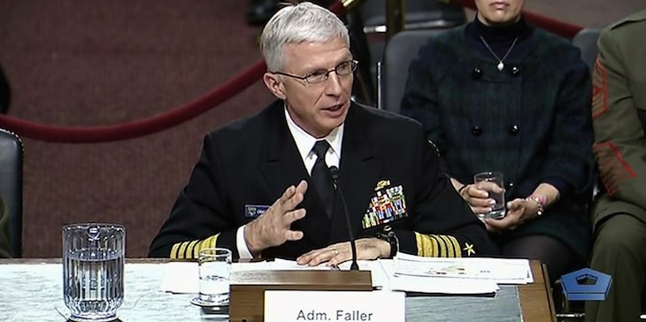 Marine Corps Gen. Thomas D. Waldhauser, U.S. Africa Command commander, and Navy Adm. Craig Faller, U.S. Southern Command commander, speak before the Senate Armed Services Committee regarding the 2020 Defense Authorization Request and Future Years Defense Program, Feb. 7, 2019.