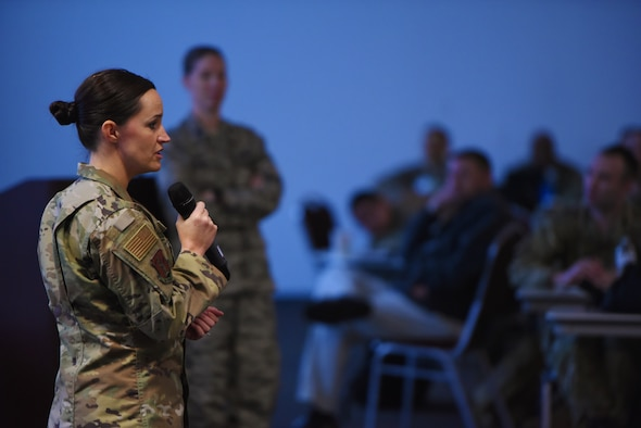 U.S. Air Force Maj. Sarah Boone, commandant of the cyber field training unit, speaks to Air Force leadership within the combat communications community at Savannah Air National Guard Base, Ga., Jan. 31, 2019. This was the first meeting since the transition of the cyber responsbility from Space Command to Air Combat Command. (U.S. Air National Guard photo by Tech. Sgt. Amber Williams)