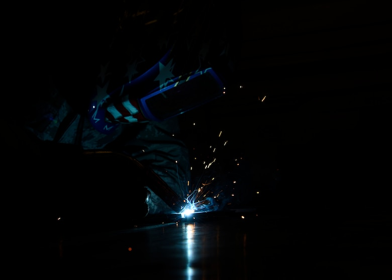 Senior Airman Brendon Tinko, a member of 56th Equipment Maintenance Squadron aircraft metals technology, practices gas metal arc welding, Feb. 6, 2019 at Luke Air Force Base, Ariz.