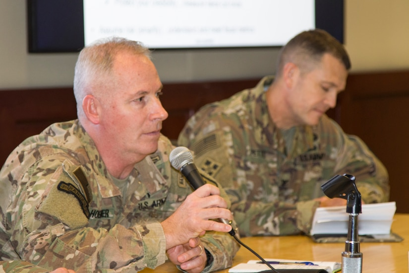 U.S. Army Col. Rick Hoerner, commandant of the Financial Management School and Chief of the Finance Corps, answers questions during a panel discussion of senior finance and comptroller leaders during the U.S. Army Central Financial Management and Comptroller Forum at Al Udeid Air Base, Qatar, Dec. 4, 2018. He discussed financial management force optimization, training doctrine, and enhancement of training opportunities.