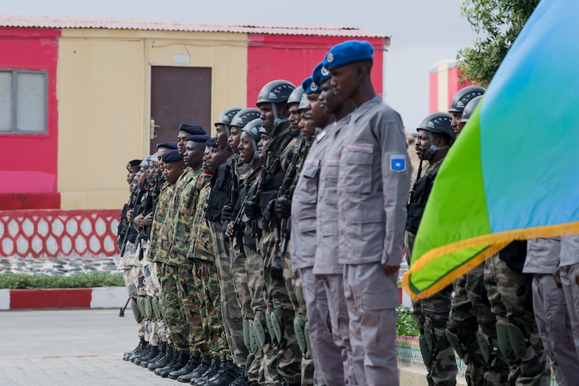 African military forces stand in formation during the opening ceremony of exercise Cutlass Express in Djibouti.