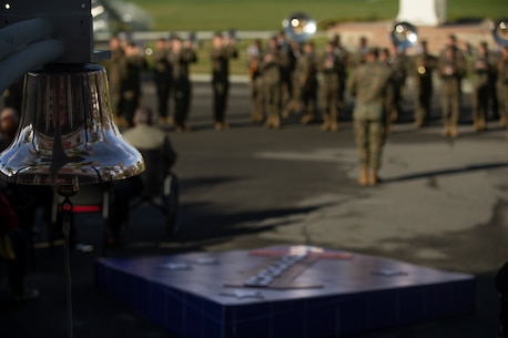 U.S. Marines with the 1st Marine Division (MARDIV) band, play during the division's 78th Anniversary Ceremony at Marine Corps Base Camp Pendleton, California, Feb. 1, 2018
