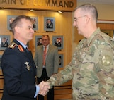 """Lt. Gen. Christian Badia, German Federal Ministry of Defence, head of the strategic defence planning and concepts division, is greeted by Gen. John Hyten, commander of U.S. Strategic Command, during his visit on Feb. 4, 2019, at Offutt Air Force Base, Neb. Badia visited to discuss topics of deterrence, and the importance of alliances and partnerships.   """"The assessment of the strategic environment is the fundamental basis for national defense and security strategies,"""" said Badia. """"Regarding force and capability development it is very similar in both our countries. Germany's and the U.S.' ongoing structured exchange on the many aspects of deterrence from the executive down to the working level is of utmost importance. With such a regular exchange both sides will improve understanding of the other nation's priorities and vectors, for example, allowing for more focused capability development by – as the U.S. National Defense Strategy calls it – taking advantage of selective interdependencies."""" (U.S. Air Force photo by Steve Cunningham)"""