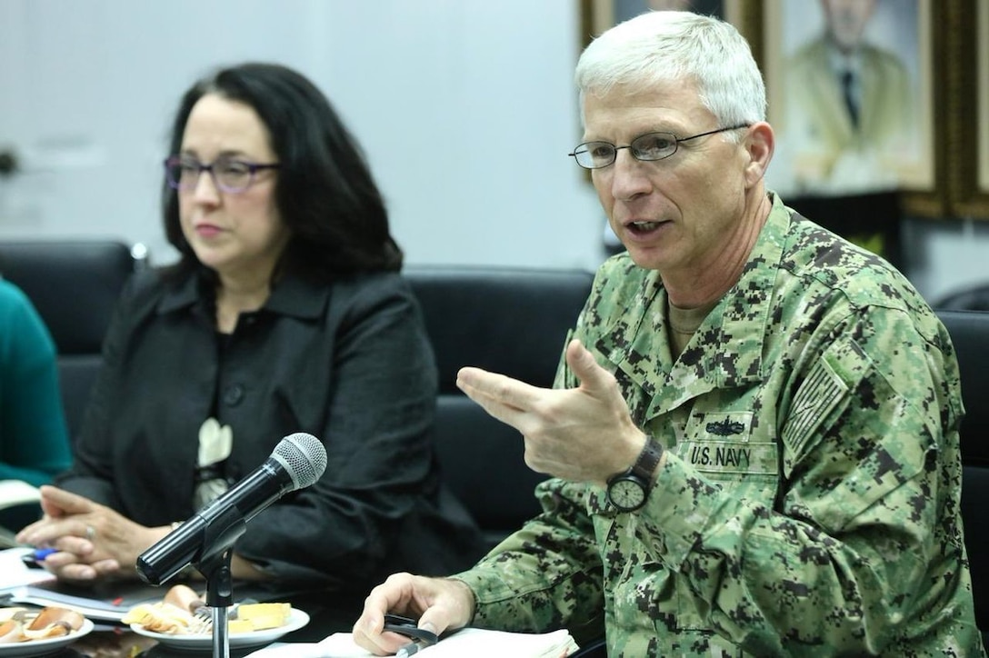 Navy Adm. Craig S. Faller, commander of U.S. Southern Command, speaks during a meeting with Salvadoran Defense Minister David Munguia Payes and other Salvadoran military leaders.