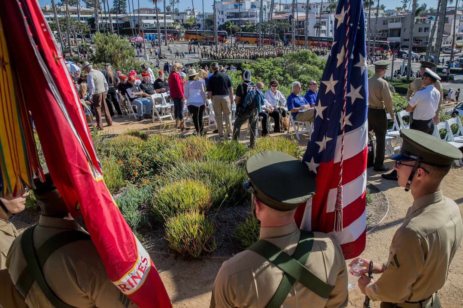 Marines from 2d Battalion 4th Marine Regiment and retired Marines parade in San Clemente, Calif., Nov. 9th, 2018.