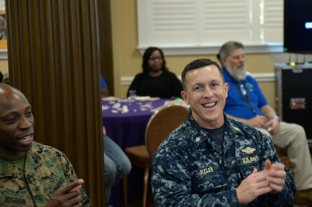 The sounds of the Albany Movement filled the air in the Grand Ballroom at the Town & Country Restaurant aboard Marine Corps Logistics Base Albany, Feb. 7, as one of the original Freedom Singers, Rutha Mae Harris, spoke and sung about her journey.