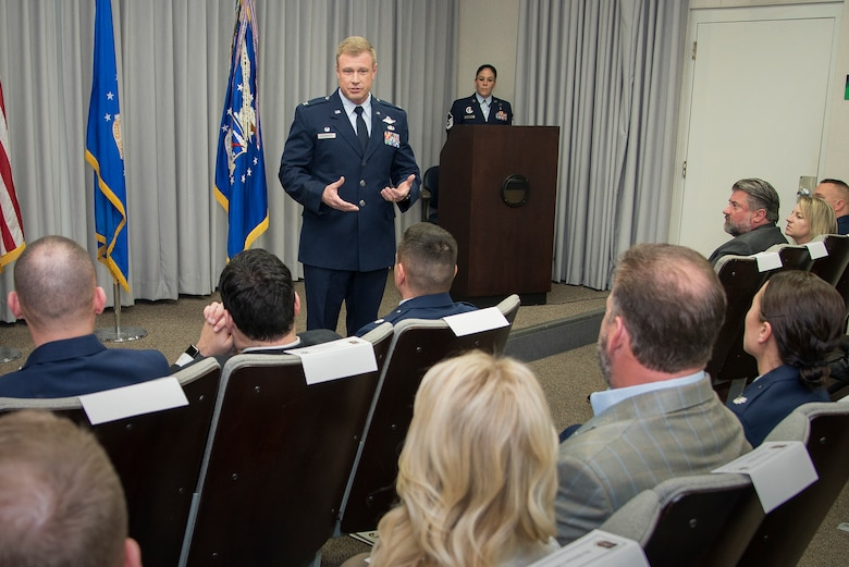 340th Flying Training Group Commander Col. Allen Duckworth welcomes distinguished visitors to the Feb. 1 honorary commander induction ceremony held at Joint Base San Antonio-Randolph,