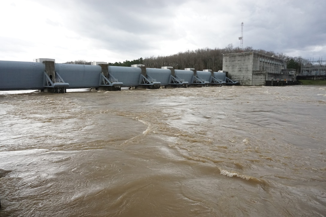 The U.S. Army Corps of Engineers Nashville District releases water at Cheatham Dam in Ashland City, Tenn. The district is managing releases as appropriate at its dams in the Cumberland River Basin. (USACE Photo by Mark Rankin)