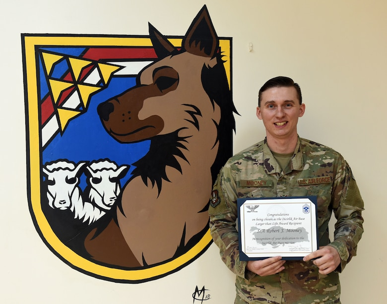 Congratulations to U.S. Air Force Senior Airman Robert Mooney, 39th Security Forces Squadron base defense operations center controller, for winning the Deployed Larger Than Life Award at Incirlik Air Base, Turkey, Feb. 8, 2019.