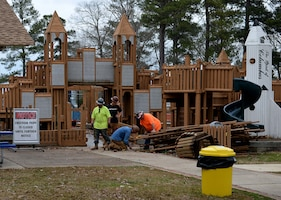 Construction workers begin demolition at Freedom Park Feb. 6. 2019, on Columbus Air Force Base, Mississippi. In September 2018, due to several safety concerns that surfaced, base leadership made the decision to close the playground, keeping in mind the safety of families and their children. (U.S. Air Force photo by Airman Hannah Bean)