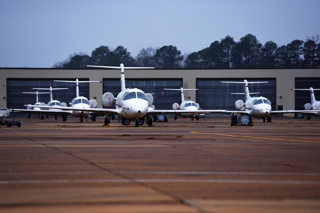 The 48th Flying Training Squadron's fleet of T-1A Jayhawks sit on the flight line at Columbus Air Force Base, Mississippi, Feb. 5, 2019. The T-1 is used in Specialized Undergraduate Pilot Training for the students who are selected to fly airlift or tanker aircraft. (U.S. Air Force photo by Senior Airman Beaux Hebert)