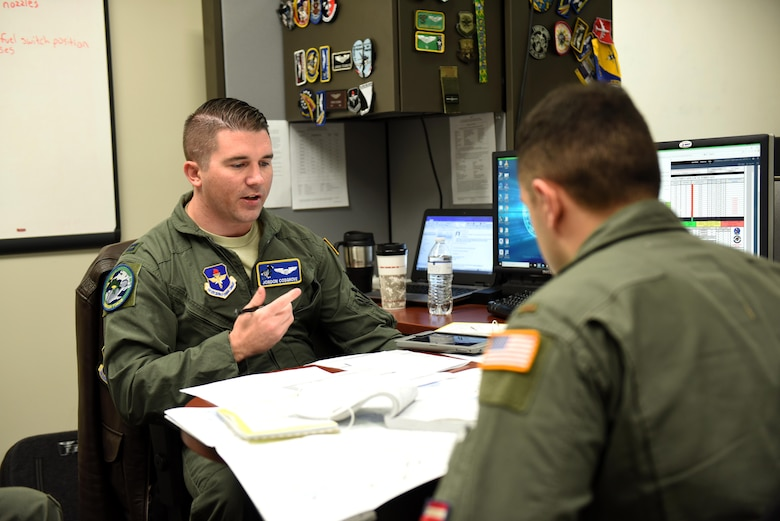 Capt. Jordon Cosgrove, 48th Flying Training Squadron instructor pilot (IP), plans a training sortie with a Specialized Undergraduate Pilot Training student Feb. 5, 2019, on Columbus Air Force Base, Mississippi. While planning a training sortie, IPs and student pilots must factor in weather conditions and many other variable obstacles that may happen during their flight. (U.S. Air Force photo by Senior Airman Beaux Hebert)