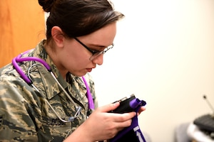 Senior Airman Kathryn Dobbs, an aerospace medical technician assigned to the 180th Fighter Wing, Ohio Air National Guard, checks the blood pressure cuff during an incentive flight physical at Patrick Air Force Base, Florida, Feb. 1, 2019. The 180FW deployed more than 130 Airmen and 10 F-16s to Patrick in an effort to enhance flying operations and readiness capabilities that can often be hindered by harsh winter weather at home-station in Northwest Ohio. Incentive flights are special flights provided to outstanding Airmen who continually go above and beyond in their primary duties. (Air National Guard photo by Senior Master Sgt. Beth Holliker)