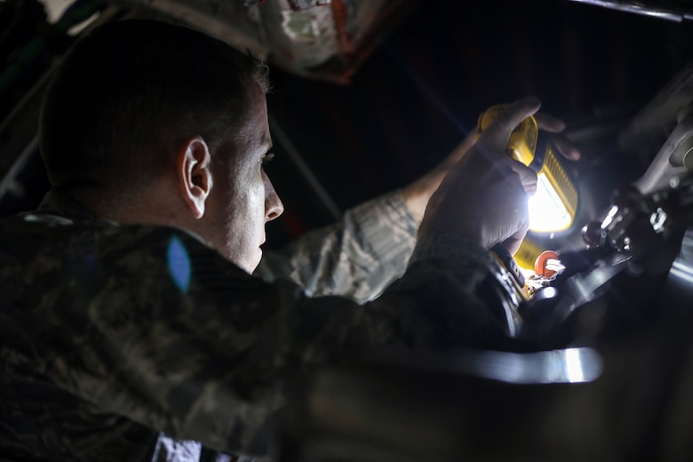Tech. Sgt. Zachary Stevens, 445th Maintenance Squadron maintenance technician, inspects a C-17 Globemaster III engine on January 6, 2019. The C-17 has four Pratt & Whitney PW2040 (military designation F117-PW-100) engines with 40,440 pounds of thrust each. (U.S. Air Force photo/Master Sgt. Patrick O'Reilly)