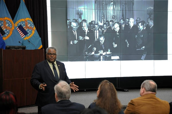 Al Hight, director and chief diversity & inclusion equal employment opportunity manager for the Equal Employment Opportunity Office, shares highlights from Dr. Martin Luther King Jr.'s life like attending the signing of the 1964 Civil Rights Act.