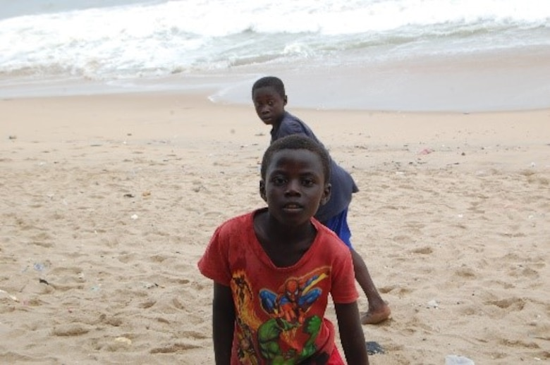 Ghanaian orphan boys playing on a beach. (Courtesy photo/Breanna McGowan)