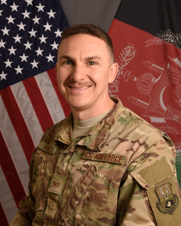 U.S. Air Force Staff Sgt. Tony Hanks, assigned to the 455th Air Expeditionary Wing, is pictured in an official photo from his deployment to Afghanistan, October 11, 2018. Hanks, a religious affairs specialist was deployed to both Bagram Air Base and Hamid Karzai International Airport in Kabul during his time in Afghanistan. (U.S. Air Force photo by Tech. Sgt. Eugene Crist)