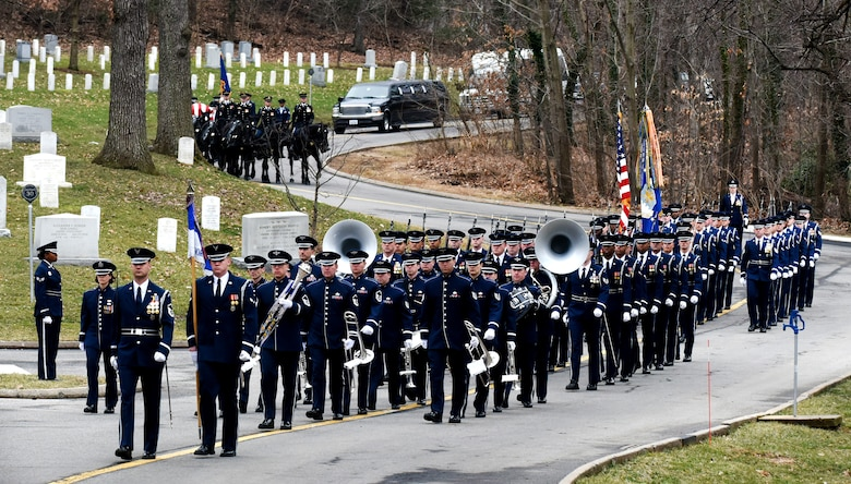 A caisson delivers the remains of retired U.S. Air Force Maj. Gen. Marcelite Harris during her full honors funeral at Arlington National Cemetery, Arlington, Va., Feb. 7, 2019. In 1991, Harris became the first African-American women to earn the rank of brigadier general in the U.S. Air Force. (U.S. Air Force photo by Staff Sgt. Rusty Frank)