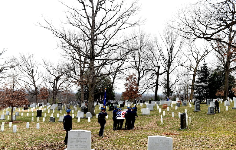 Friends and family of retired U.S. Air Force Maj. Gen. Marcelite Harris attend her full honors military funeral at Arlington National Cemetery, Arlington, Va., Feb. 7, 2019. Harris's accomplishments include being the first woman aircraft maintenance officer, one of the first two women air officers commanding at the U.S. Air Force Academy and the first woman deputy commander for maintenance. She also served as a White House social aide during the Carter administration. (U.S. Air Force photo by Staff Sgt. Rusty Frank)