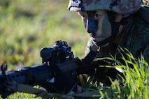 Soldiers from the 1st Amphibious Rapid Deployment Brigade, Japan Ground Self-Defense Force (JGSDF) conduct individual and small-unit maneuver exercises during Iron Fist at Marine Corps Base Camp Pendleton, California, February 6, 2019.