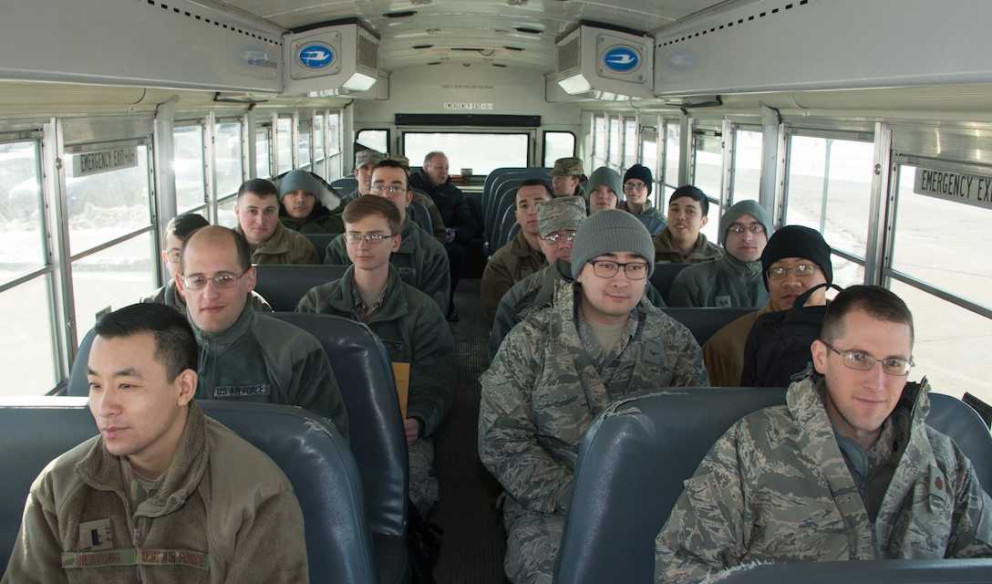 Airmen from the 557th Weather Wing (WW) departing for the Individual Protection Equipment office at Offutt Air Force Base, Nebraska, to receive mobility bags as part of Exercise Winter Havoc Jan. 29, 2019. The 557th WW participated in its first mass readiness exercise with the 55th Wing since the weather wing's creation in 2015. (U.S. Air Force photo by Paul Shirk)