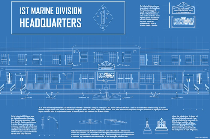 The graphic, designed using Adobe Illustrator, depicts the 1st Marine Division Headquarters Building on Marine Corps Base Camp Pendleton, Calif., June 1, 2018.