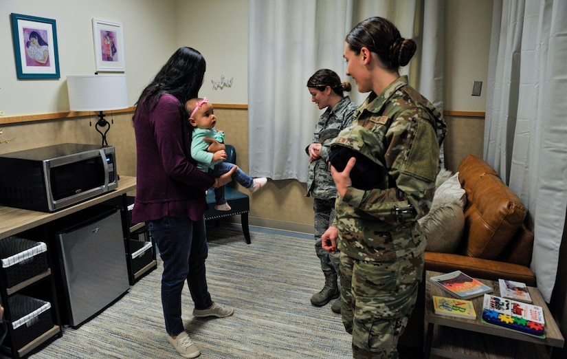 Spouses and military members gather in the new pumping room Jan. 11, 2019, in the Child Development Center at JB Charleston.
