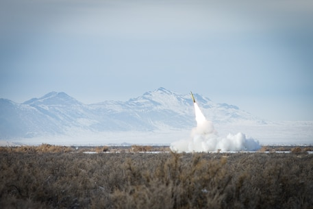 A U.S. Marine Corps M142 High-mobility artillery rocket system fires a M270 rocket during exercise Steel Knight (SK) 19 at Army Facility Dugway Proving Ground, Utah, Dec. 7, 2018.