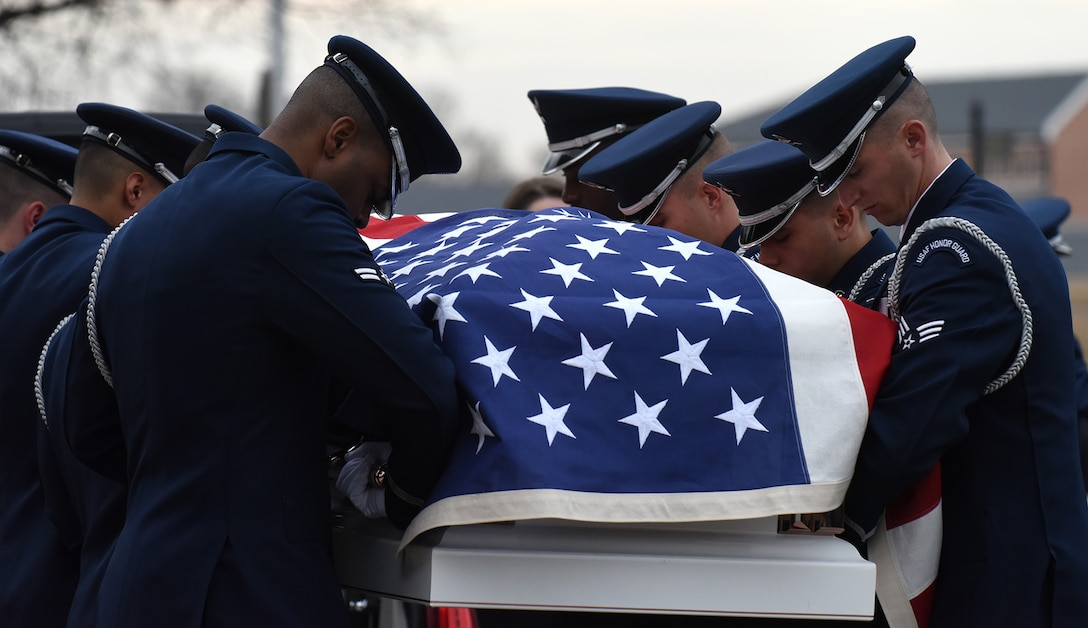 The U.S. Air Force Honor Guard performs full military honors during the funeral of retired U.S. Air Force Maj. Gen. Marcelite Harris at Arlington National Cemetery, Arlington, Va., Feb. 7, 2019. In 1991, Harris became the first African-American women to earn the rank of brigadier general in the U.S. Air Force. (U.S. Air Force photo by Staff Sgt. Rusty Frank)