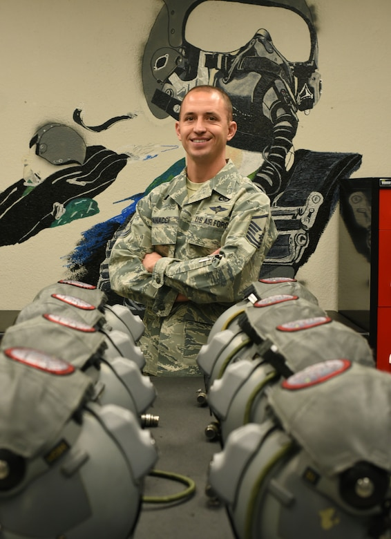 Master Sgt. Rudy Pannaci, a 301st Aircrew Flight Equipment NCOIC, shares why he joined the military and his career goals during an interview for a Spotlight feature in Jan. 29, 2019. The Spotlight series gives a behind-the-scenes look at the men and women who are the driving force of the 301st Fighter Wing. (U.S. Air Force photo by Tech. Sgt. Melissa Harvey)