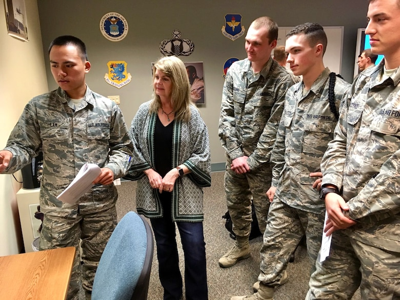 Katherine Chowdhary, 334th Training Squadron instructor, observes presentations given by 334th TRS air traffic control students at Keesler Air Force Base, Mississippi Jan. 24, 2019. Chowdhary's class is the first to incorporate an Active Learning Environment in the ATC course and throughout the course she ensures her students are given the opportunity to understand the course material fully. The 81st Training Group encourages all instructors to implement innovative techniques to better develop Mach-21 Airmen. (U.S. Air Force photo by Airman 1st Class Kimberly L. Mueller)