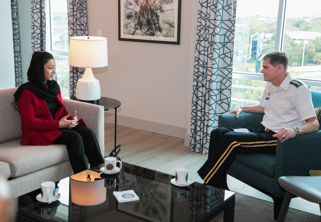 U.S. Army Gen. Joseph Votel, commander, U.S. Central Command, right, meets with Afghan Ambassador to the United States, Roya Rahmani, left, during a key leader engagement, Feb. 4, 2019.