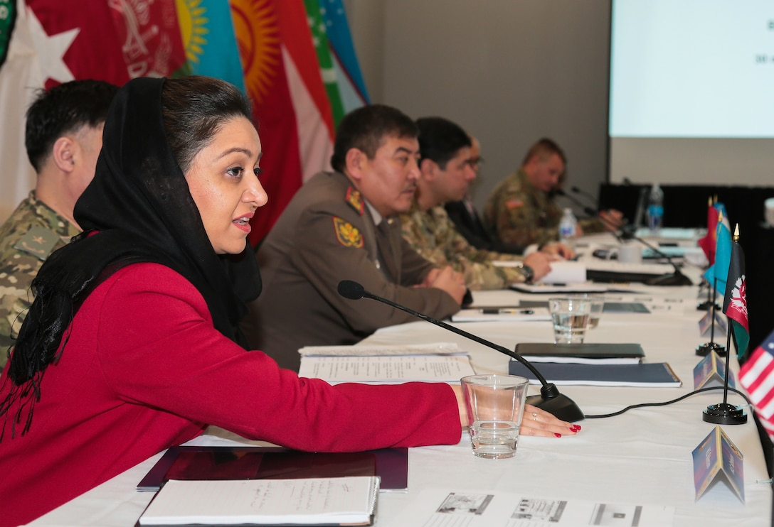 Afghan Ambassador to the United States, Roya Rahmani, addresses attendees at the U.S. Central Command hosted, Central and South Asia (CASA) Directors of Military Intelligence Conference, Feb. 4, 2019. The annual conference brings together Directors of Military Intelligence from Central and South Asia and subject matter experts from America's intelligence and academic community to discuss present and future threats facing the CASA region, and lay the ground work for increased regional intelligence cooperation. This year's conference focused on conflict resolution in Afghanistan. (Photo by Tom Gagnier)