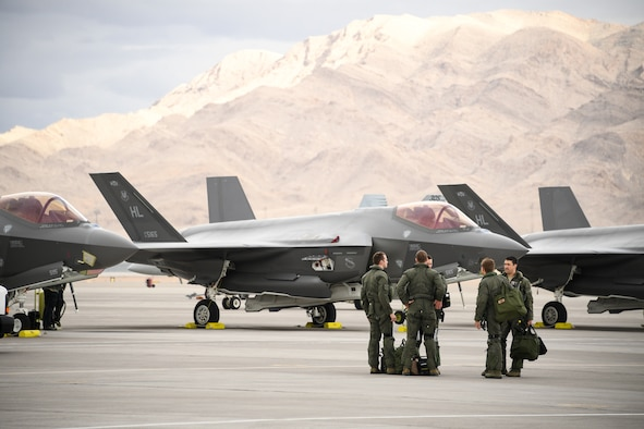 F-35A Lightning II pilots on the flight line after a mission during Red Flag 19-1, at Nellis Air Force Base, Nevada. This is wing's second Red Flag with the F-35A, America's most advanced multi-role fighter, which brings game-changing stealth, lethality and interoperability to the modern battlefield. Red Flag is the Air Force's premier combat exercise and includes units from across the Air Force and allied nations. The 388th is the lead wing for Red Flag 19-1. U.S. Air Force photo by R. Nial Bradshaw)