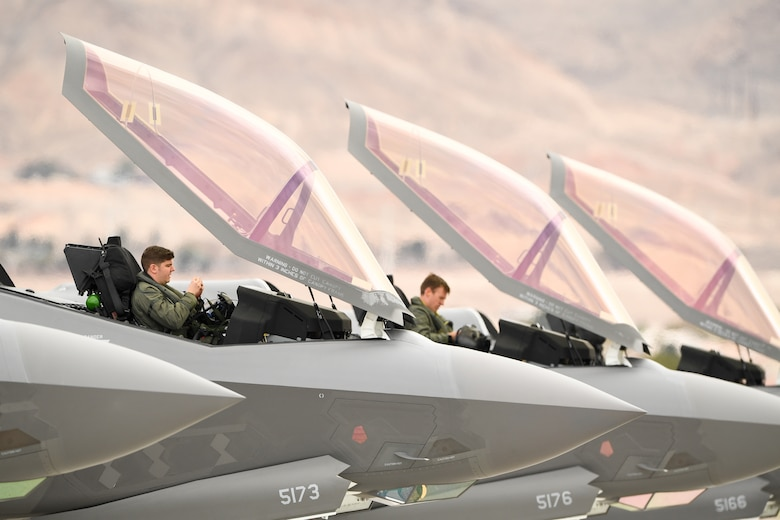 Pilots from the 388th Fighter Wing's 4th Fighter Sqaudron prepare for launch, Nellis Air Force Base, Nevada, Jan. 31, 2019. Pilots and maintainers from the 388th Fighter Wing's 4th Fighter Squadron and 4th Aircraft Maintenance Unit are participating in Red Flag 19-1 at Nellis AFB, Nevada. This is wing's second Red Flag with the F-35A, America's most advanced multi-role fighter, which brings game-changing stealth, lethality and interoperability to the modern battlefield. Red Flag is the Air Force's premier combat exercise and includes units from across the Air Force and allied nations. The 388th is the lead wing for Red Flag 19-1.  (U.S. Air Force photo by R. Nial Bradshaw)