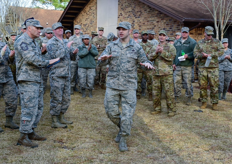 Chief Master Sgt. Jamie Auger, 96th Test Wing command chief, addresses superintendents at the Air Force Enlisted Village during the installation's first Superintendent Symposium Jan 27 at Eglin Air Force Base, Fla. The nearly week-long course was established to fulfill a gap in training for superintendents. Students learned about their daily roles, how to support of the overall health of their squadron and prepare for the unexpected. The curriculum also included briefings by subject matter experts on deployment and medical readiness, manpower, budget, assignments, inspector general applications, and personnel. (U.S. Air Force Photo/Jasmine Porterfield)