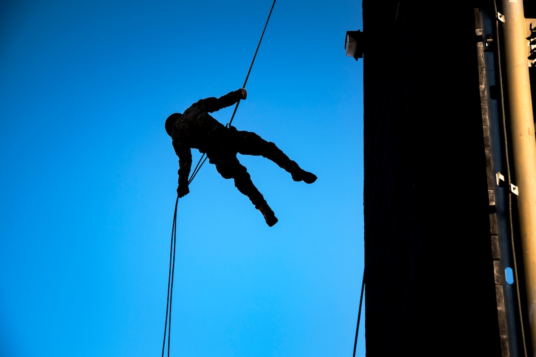 An Airman rappels down the Safeside Rappel Tower during an Army Air Assault Assessment (AAA), Jan. 28, 2019, at Moody Air Force Base, Ga. Airmen demonstrated their comprehensive rappel tower knowledge to help determine their overall readiness for Army Air Assault school (U.S. Air Force photo by Airman First Class Eugene Oliver)