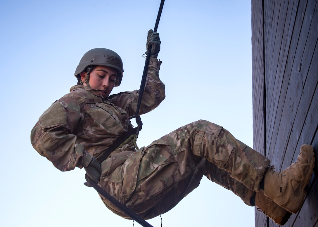 Airman First Class Madison Ruiz, 823 Base Defense Squadron security forces member, prepares to rappel down the Safeside Rappel Tower during an Army Air Assault Assessment (AAA), Jan. 28, 2019, at Moody Air Force Base, Ga. The AAA is designed to determine Airmen's physical and mental readiness before being able to attend Army Air Assault school. (U.S. Air Force photo by Airman First Class Eugene Oliver)