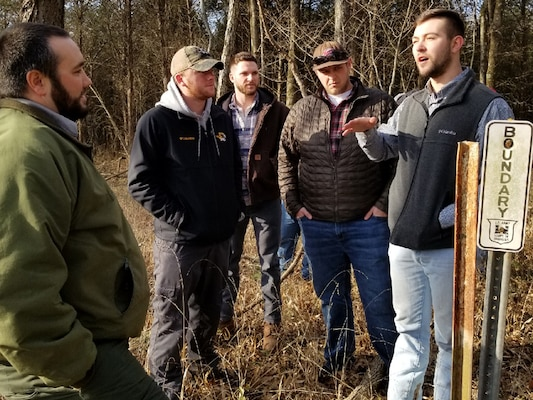 Park Ranger Dylon Anderson (Left) leads a boundary line field exercise at J. Percy Priest Lake in Nashville, Tenn., Jan. 31, 2019 during a class for U.S. Army Corps of Engineers employees that focuses on environmental stewardship. (USACE photo)