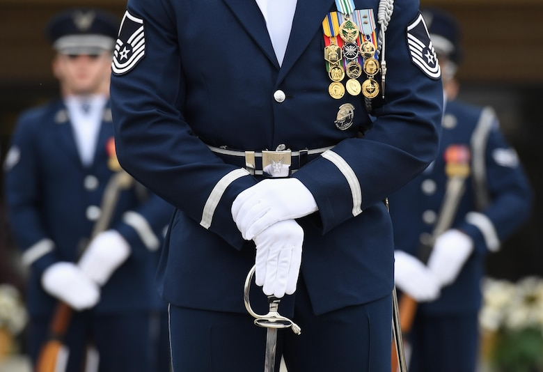 U.S. Air Force Master Sgt. Jason Prophet, U.S. Air Force Honor Guard Drill Team superintendent, participates in the debut performance of the team's 2019 routine in front of Keesler leadership and 81st Training Group Airmen on the Levitow Training Support Facility drill pad at Keesler Air Force Base, Mississippi, Feb. 8, 2019. The team comes to Keesler every year for five weeks to develop a new routine that they will use throughout the year. (U.S. Air Force photo by Kemberly Groue)