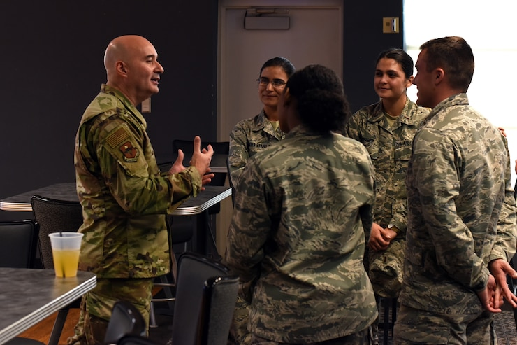 U.S. Air Force Col. Robert Ramirez, 17th Training Wing vice commander, speaks with attendees of the Goodfellow's Key Spouses' Program All Call at the Event Center, Goodfellow Air Force Base, Feb. 7, 2019. Guests of the event had the chance to ask leadership questions and to learn about tools available through the base for military spouses. (U.S. Air Force photo by Airman 1st Class Zachary Chapman/Released)