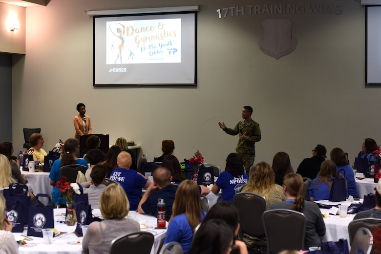 U.S. Air Force Col. Ricky Mills, 17th Training Wing commander, speaks to the crowd during Goodfellow Air Force Base's first Key Spouses' Program All Call at the Event Center, GAFB, Texas, Feb. 7, 2019. This event was held to give military spouses the chance to ask wing leadership questions, network with other spouses and learn about resources available to them. (U.S. Air Force Photo by Airman 1st Class Zachary Chapman/Released)