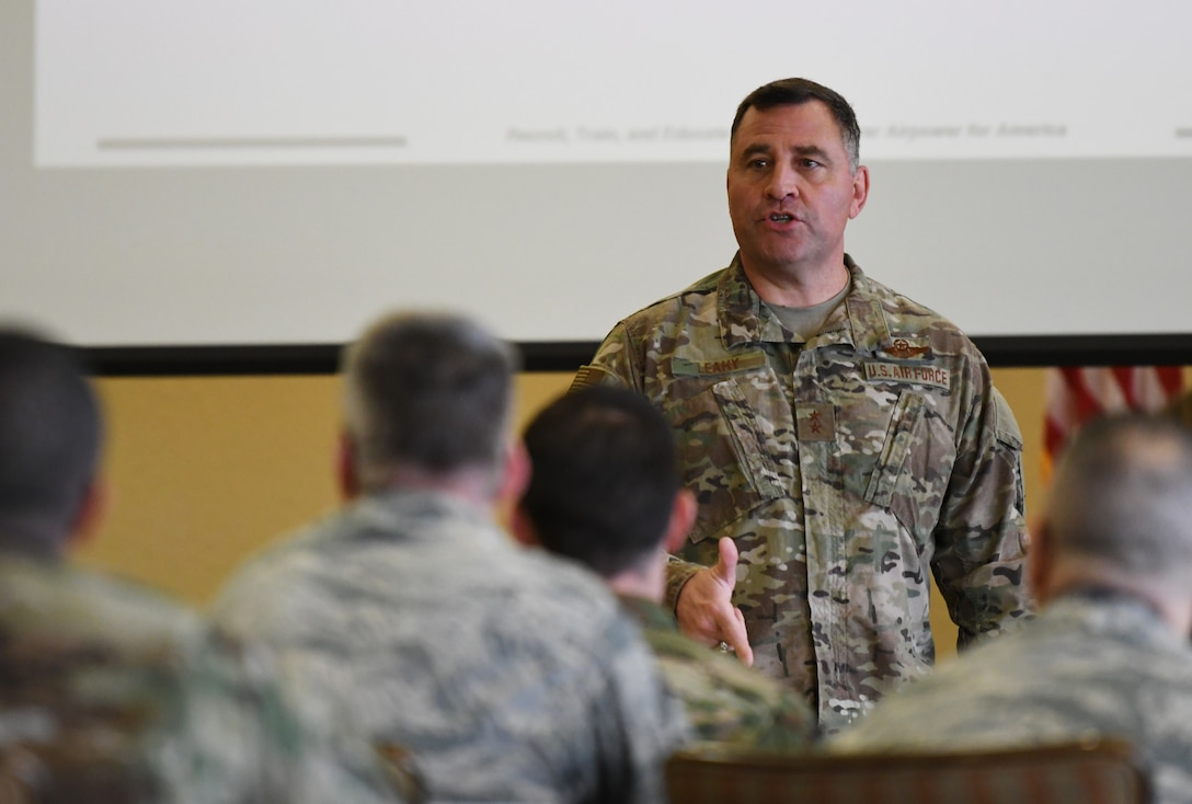 U.S. Air Force Maj. Gen. Timothy Leahy, Second Air Force commander, speaks a group of chiefs and training staff during the 2019 Career Field Managers Conference at Keesler Air Force Base, Mississippi, Feb. 6, 2019. The three-day conference, put on by the 81st Training Support Squadron, is designed to improve lines of communication between all levels of training development and delivery. This year the main topics of discussion were the blended learning approach to training, advancements in cyber training, advancing the technical training enterprise and augmented and virtual reality as training options. (U.S. Air Force photo by Master Sgt. Ryan Crane)