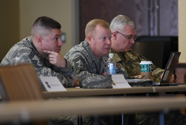 U.S. Air Force chief master sergeants listen and take notes during the 2019 Career Field Managers Conference at Keesler Air Force Base, Mississippi, Feb. 7, 2019. The three-day conference, put on by the 81st Training Support Squadron, is designed to improve lines of communication between all levels of training development and delivery. This year the main topics of discussion were the blended learning approach to training, advancements in cyber training, advancing the technical training enterprise and augmented and virtual reality as training options. (U.S. Air Force photo by Master Sgt. Ryan Crane)