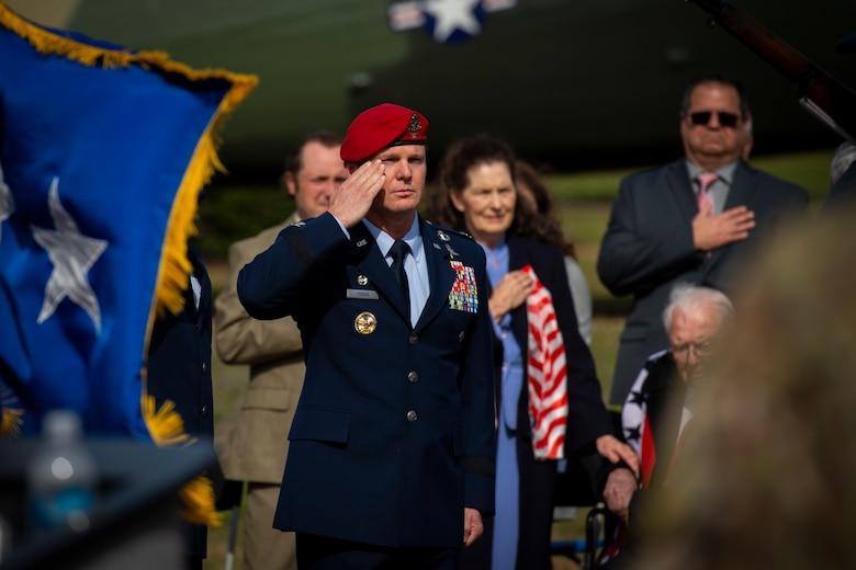 U.S. Air Force Brig. Gen. Claude K. Tudor, Jr., commander of the 24th Special Operations Wing, salutes as members of the Hurlburt Field honor guard present the colors during a ceremony at Hurlburt Field, Florida, Feb. 8, 2019.