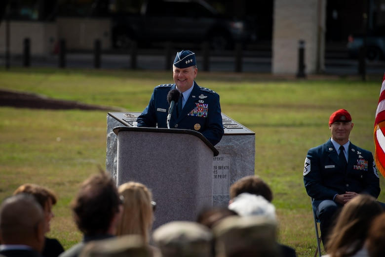 U.S. Air Force Lt. Gen. Brad Webb, commander of Air Force Special Operations Command, gives remarks during the promotion ceremony of U.S. Air Force Col. Claude K. Tudor, Jr., at Hurlburt Field, Florida, Feb. 8, 2019.