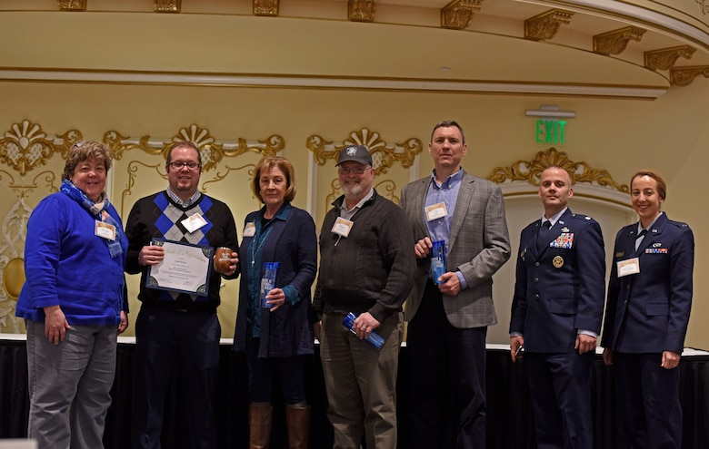 Leadership and members of the 92nd Civil Engineer Squadron represent Fairchild Air Force Base during the 2018 Spokane County Commute Trip Reduction Program Way-To-Go Awards at the Historic Davenport Hotel in Spokane, Washington, Feb. 7, 2019.